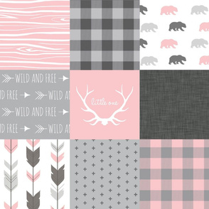 Wholecloth Quilt - Pink and Gray Bears - woodgrain, Linen, arrows