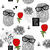 Owls and roses.