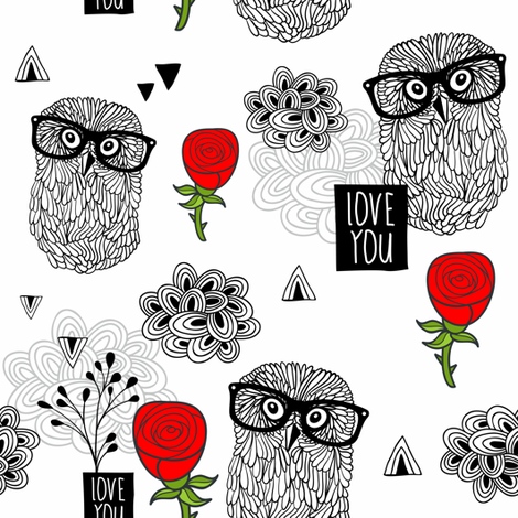 Owls and roses fabric by panova on Spoonflower - custom fabric