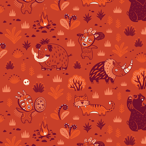 Stone Age fabric by penguinhouse on Spoonflower - custom fabric