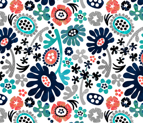 Matisse and Me Paper Flower Cutouts  fabric by sarah_treu on Spoonflower - custom fabric