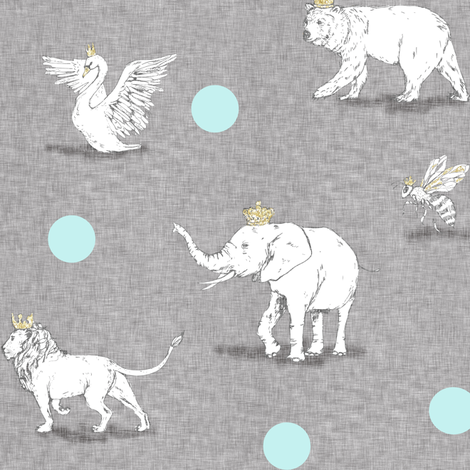 Royal Parade (grey/blue) fabric by nouveau_bohemian on Spoonflower - custom fabric