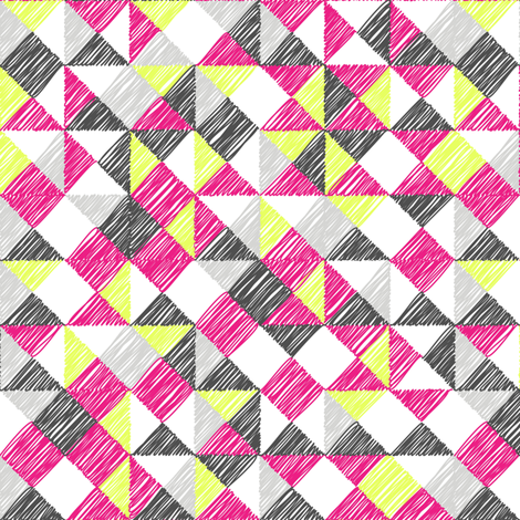 scribble triangles - pink fabric by ravynka on Spoonflower - custom fabric