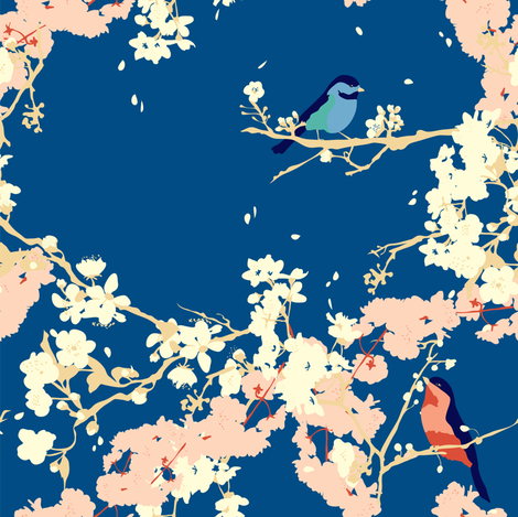 Birds and Blossoms in Navy // Japanese garden inspired // Original illustration and pattern by Zoe Charlotte fabric by zoecharlotte on Spoonflower - custom fabric