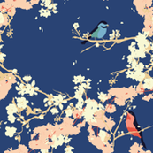 Birds and Blossoms in Navy // Japanese garden inspired // Original illustration and pattern by Zoe Charlotte