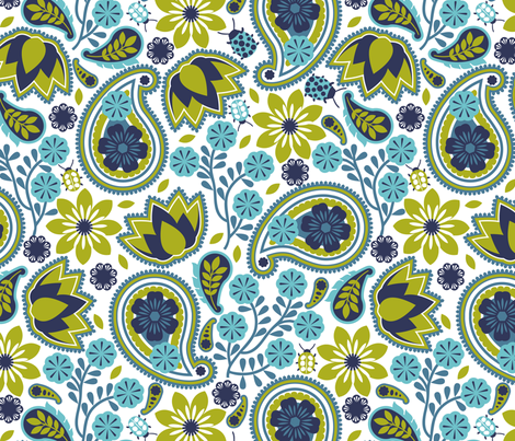 paisley paper-cut flowers fabric by cjldesigns on Spoonflower - custom fabric