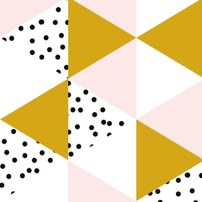 triangle wholecloth // pale pink + gold + b/w dots // rotated