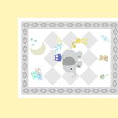 BABY BOY NAVY 2118 - diamond gray soft yellow blue leaf