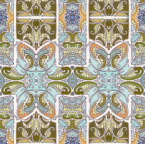 Knights of the Paisley Frond fabric by edsel2084 on Spoonflower - custom fabric