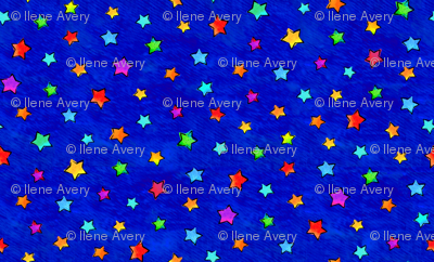 Watercolor Stars Blue