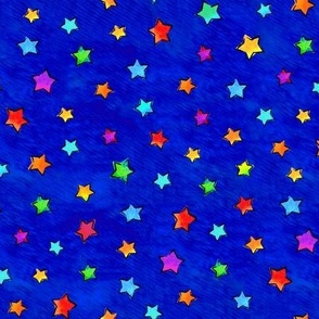 Watercolor Stars Blue