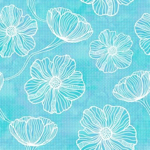 White Flower Outlines on Aqua