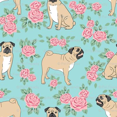 Pug rose florals fabric dog fabric pattern blue