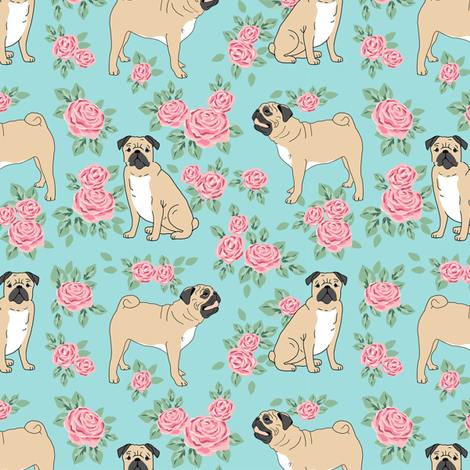 Pug rose florals fabric dog fabric pattern blue fabric by petfriendly on Spoonflower - custom fabric