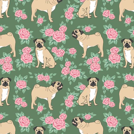 Pug rose florals fabric dog fabric pattern med green fabric by petfriendly on Spoonflower - custom fabric