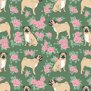 Pug rose florals fabric dog fabric pattern med green