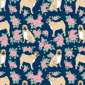 Pug rose florals fabric dog fabric pattern navy