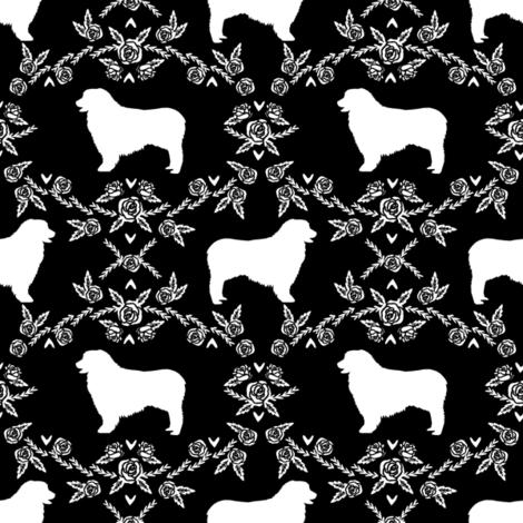 Australian Shepherd florals silhouette dog pattern black fabric by petfriendly on Spoonflower - custom fabric