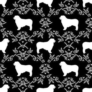 Australian Shepherd florals silhouette dog pattern black