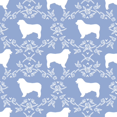 Australian Shepherd florals silhouette dog pattern cerulean fabric by petfriendly on Spoonflower - custom fabric