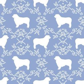 Australian Shepherd florals silhouette dog pattern cerulean