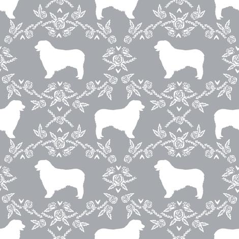 Australian Shepherd florals silhouette dog pattern grey fabric by petfriendly on Spoonflower - custom fabric