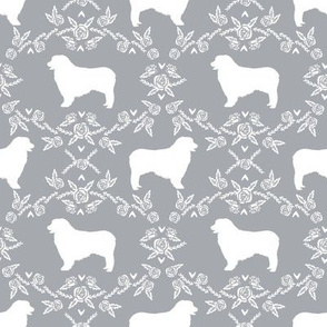 Australian Shepherd florals silhouette dog pattern grey