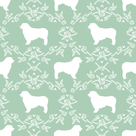 Australian Shepherd florals silhouette dog pattern mint fabric by petfriendly on Spoonflower - custom fabric