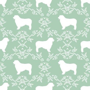 Australian Shepherd florals silhouette dog pattern mint