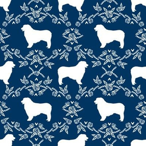 Australian Shepherd florals silhouette dog pattern navy