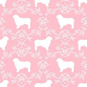 Australian Shepherd florals silhouette dog pattern pink