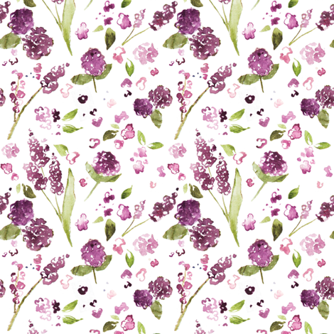 Plum Watercolor Wildflower Wallpaper Laurapol Spoonflower