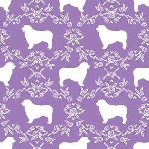 Australian Shepherd florals silhouette dog pattern purple