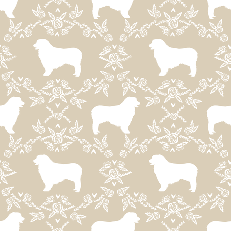 Australian Shepherd florals silhouette dog pattern sand fabric by petfriendly on Spoonflower - custom fabric