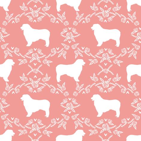 Australian Shepherd florals silhouette dog pattern sweet pink fabric by petfriendly on Spoonflower - custom fabric