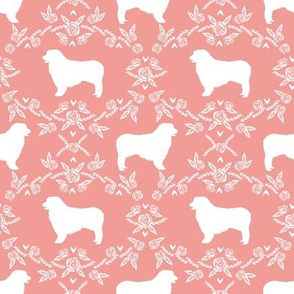 Australian Shepherd florals silhouette dog pattern sweet pink