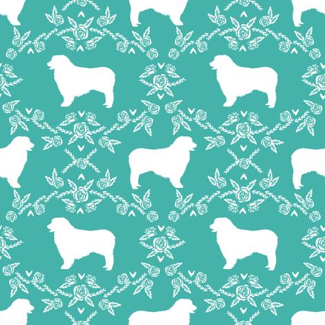 Australian Shepherd florals silhouette dog pattern turquoise fabric by petfriendly on Spoonflower - custom fabric