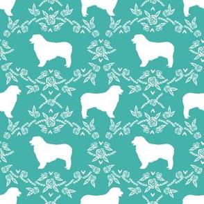 Australian Shepherd florals silhouette dog pattern turquoise