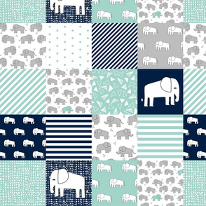 elephants cheater quilt // navy and mint squares fabric nursery baby design cheater quilts