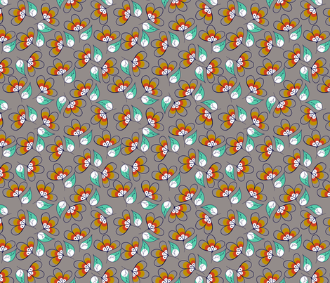 fitzek_flowers grey fabric by meissa on Spoonflower - custom fabric