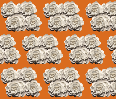 White_Rose_on_orange fabric by dry_wit_goods on Spoonflower - custom fabric