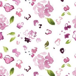 Plum Watercolor Wildflower Pieces