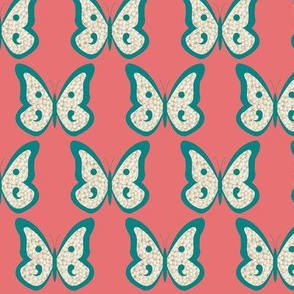 Teal Pearl Butterflies on Salmon Like Pink
