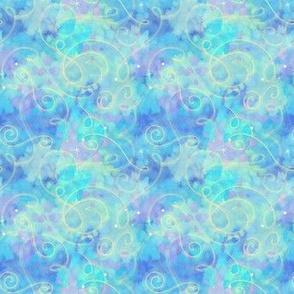 Project 330 | Watercolor Starfield | Light Blue & Lavender with Gold Swirls