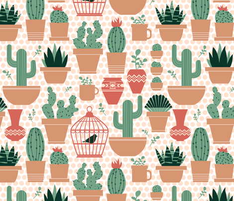 Potted Succulents on Polka Dots fabric by run_quiltgirl_run on Spoonflower - custom fabric