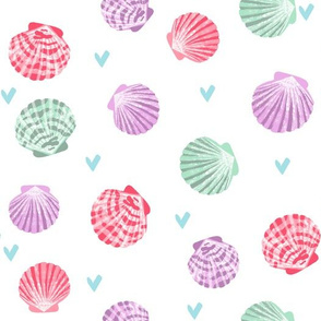 seashells fabric // girls mermaid sea shell design - pink purple and mint