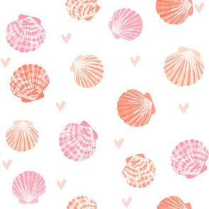 seashells fabric // girls mermaid sea shell design - peach coral and pink