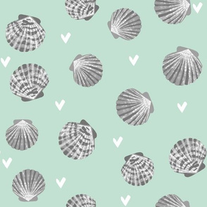 seashells fabric // girls mermaid sea shell design - mint and grey
