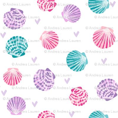 seashells fabric // girls mermaid sea shell design - pink turquoise and purple