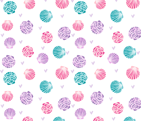 seashells fabric // girls mermaid sea shell design - pink turquoise and purple  fabric by andrea_lauren on Spoonflower - custom fabric